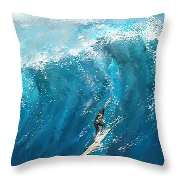 Surf's Up- Surfing Art Throw Pillow
