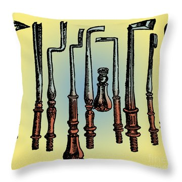 Surgical Instruments 16th Century Throw Pillow by Science Source