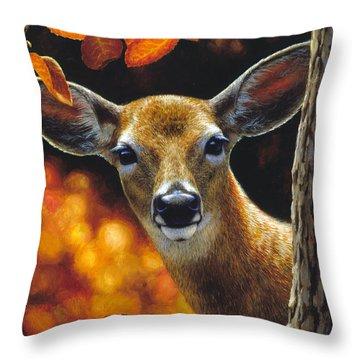 Whitetail Deer - Surprise Throw Pillow