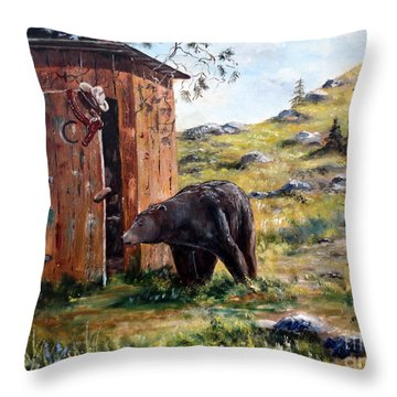 Throw Pillow featuring the painting Surprise Visit by Lee Piper