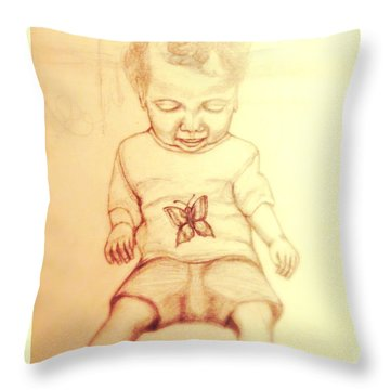 Throw Pillow featuring the drawing Surprised By A Swallowtail Butterfly by Kimberlee Baxter