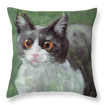 Surprised Cat Throw Pillow