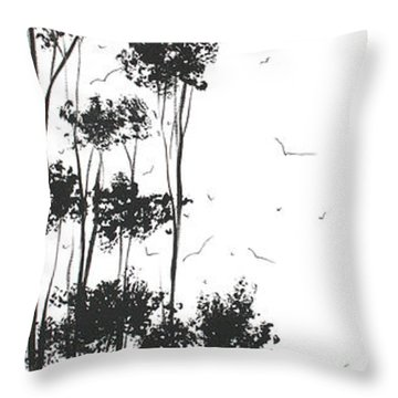 Surreal Abstract Landscape Art Painting By Madart Throw Pillow by Megan Duncanson