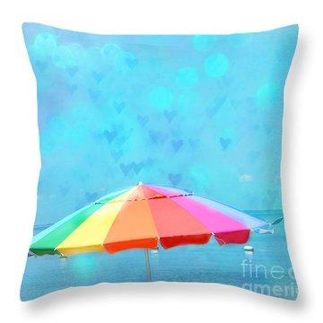 Surreal Blue Summer Beach Ocean Coastal Art - Beach Umbrella  Throw Pillow by Kathy Fornal