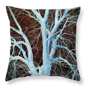 Surreal Blue Tree Throw Pillow