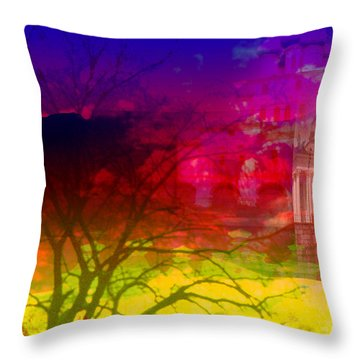 Throw Pillow featuring the digital art Surreal Buildings  by Cathy Anderson