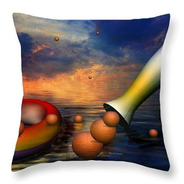 Surreal Dinner Served Over The Ocean Throw Pillow by Angela A Stanton