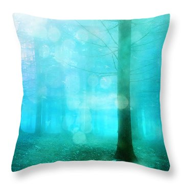 Surreal Dreamy Fantasy Bokeh Aqua Teal Turquoise Woodlands Trees  Throw Pillow by Kathy Fornal
