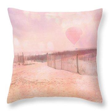 Surreal Dreamy Pink Coastal Summer Beach Ocean With Balloons Throw Pillow