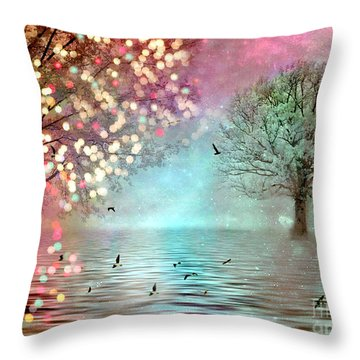 Nature Fantasy Trees Surreal Dreamy Twinkling Fantasy Sparkling Nature Trees Throw Pillow
