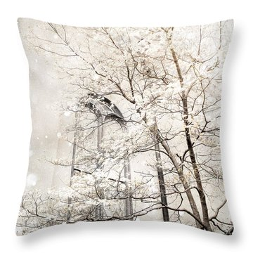 Surreal Dreamy Winter White Church Trees Throw Pillow by Kathy Fornal