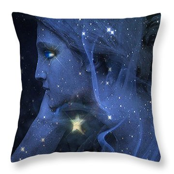 Surreal Fantasy Celestial Blue Angelic Face With Stars Throw Pillow by Kathy Fornal