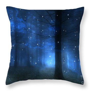 Surreal Fantasy Haunting Blue Sparkling Woodlands Forest Trees With Stars - Starlit Fantasy Nature Throw Pillow by Kathy Fornal