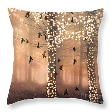Surreal Fantasy Nature Trees Woodlands Forest Sparkling Lights Birds And Trees Nature Landscape Throw Pillow by Kathy Fornal