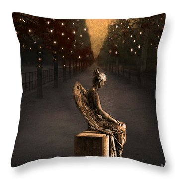 Surreal Gothic Angel Haunting Emotive Angel Sitting On Bench -fantasy Surreal Gothic Angel Prints Throw Pillow