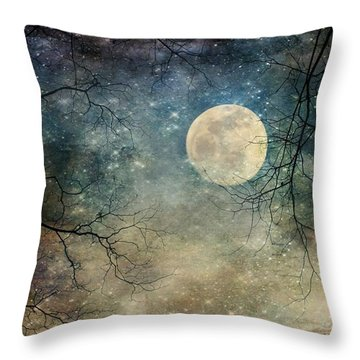 Surreal Night Sky Moon And Stars Throw Pillow