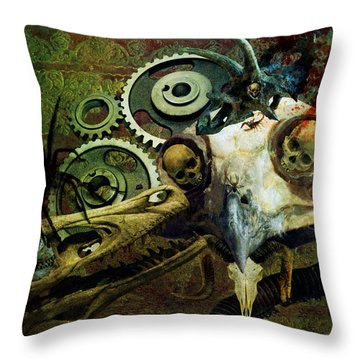 Throw Pillow featuring the painting Surreal Nightmare by Ally  White