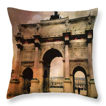 Louvre Museum Arc De Triomphe Louvre Arch Courtyard Sepia- Louvre Museum Arc Monument Throw Pillow by Kathy Fornal