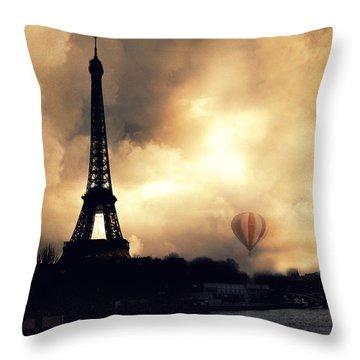 Paris Eiffel Tower Storm Clouds Sunset Sepia Hot Air Balloons Throw Pillow