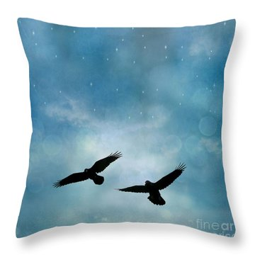 Surreal Ravens Crows Flying Blue Sky Stars Throw Pillow by Kathy Fornal