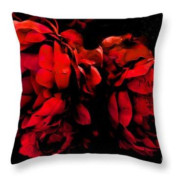 Paris Red Peonies -valentine Red And Black Surreal Flower Peony Art  - Paris Red Black Peony Decor Throw Pillow