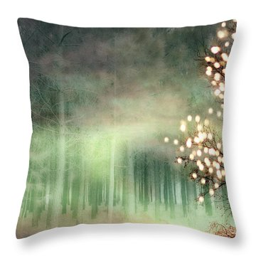 Surreal Sparkling Fantasy Nature - Green Sparkling Lights Trees Forest Woodlands Throw Pillow