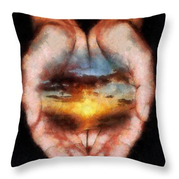 Surreal Sunset Throw Pillow by Georgi Dimitrov