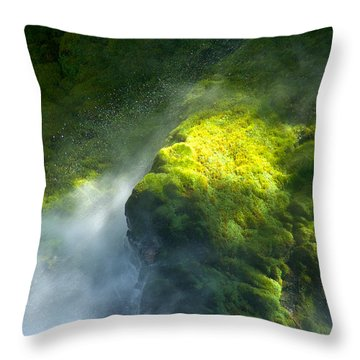 Surrounded By Mist   Vertical Throw Pillow by Mary Lee Dereske