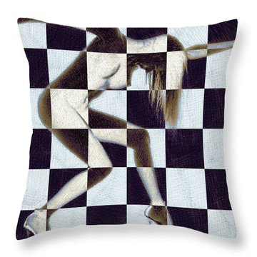 Survive Nude Woman Checkered 2 Throw Pillow by Tony Rubino