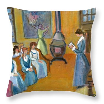 Susan B. Anthony Teaching In Canajoharie Throw Pillow by Betty Pieper