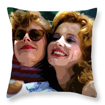 Susan Sarandon And Geena Davies Alias Thelma And Louis - Watercolor Throw Pillow