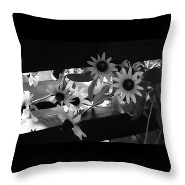 Throw Pillow featuring the photograph Susans In Black And White by Ellen Tully