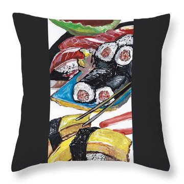 Throw Pillow featuring the painting Sushi Bar Painting by Ecinja Art Works