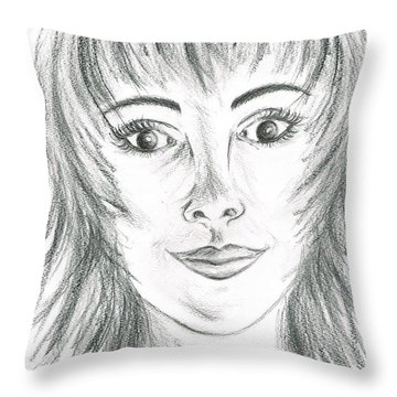 Throw Pillow featuring the drawing Portrait Stunning by Teresa White