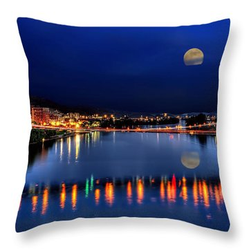 Suspension Bridge Wheeling Wv Panoramic Throw Pillow by Dan Friend