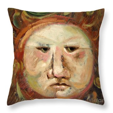 Suspicious Moonface Throw Pillow