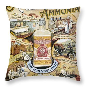 Throw Pillow featuring the photograph Sutton's Compound Cream Of Ammonia Vintage Ad by Gianfranco Weiss