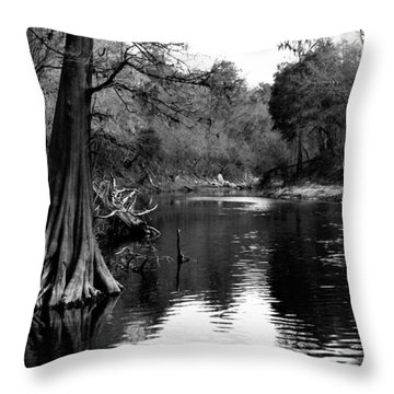 Suwannee River Black And White Throw Pillow