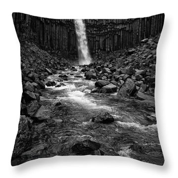 Svartifoss Waterfall In Black And White Throw Pillow