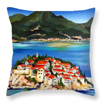 Sveti Stefan Montenegro 2 Throw Pillow