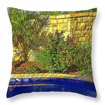 Sw Poolside Landscaping-2 Throw Pillow