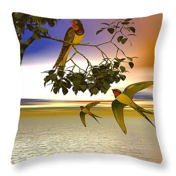 Swallows At Sunset Throw Pillow