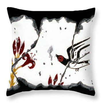 Swallows With Lilies No. 5 Throw Pillow by Steve Bogdanoff