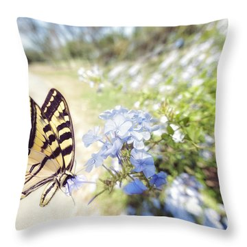 Swallowtail Butterfly In Spring Throw Pillow