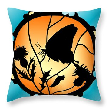 Swallowtail Butterfly Stained Glass Throw Pillow