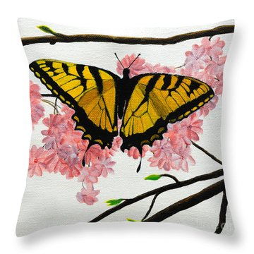Swallowtail In Cherry Blossoms Throw Pillow