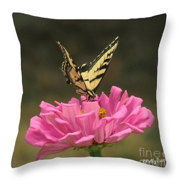 Swallowtail On A Zinnia Throw Pillow