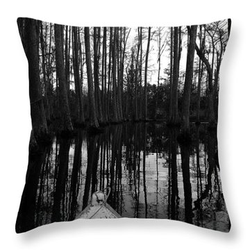 Swamp Boat Throw Pillow