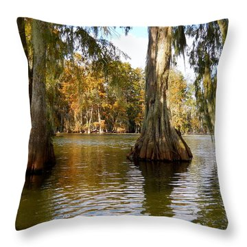 Swamp - Cypress Trees Throw Pillow