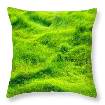 Swamp Grass Abstract Throw Pillow